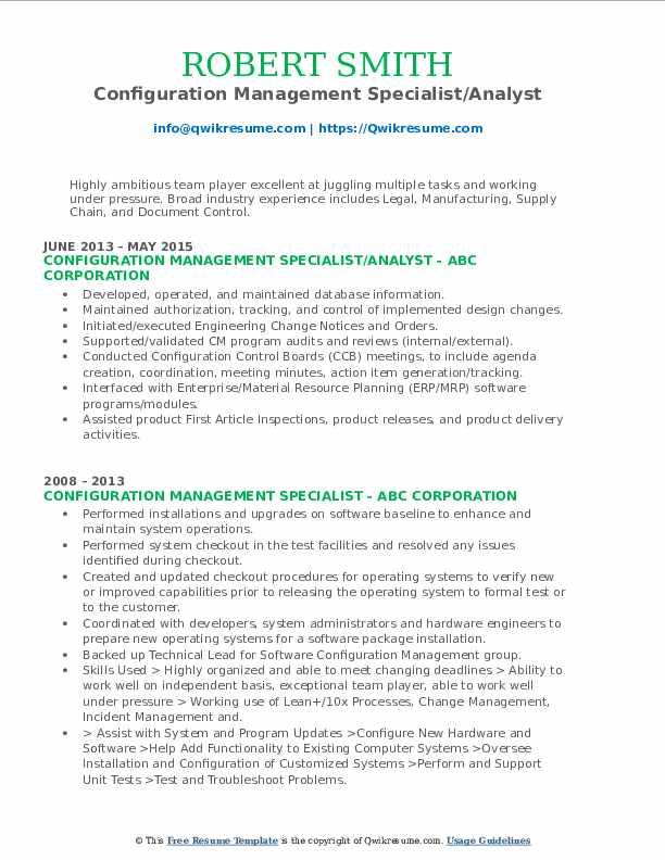 Configuration Management Specialist Resume Samples