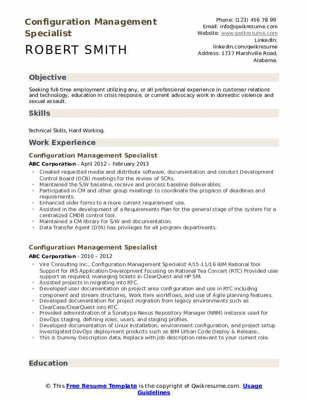 Configuration Management Specialist Resume example