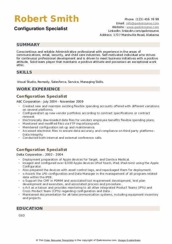 Configuration Specialist Resume example