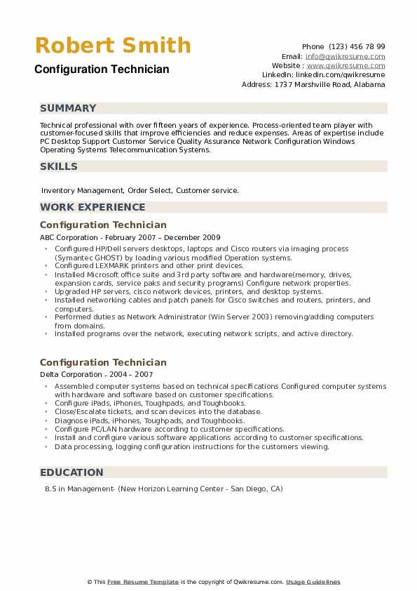 Configuration Technician Resume example