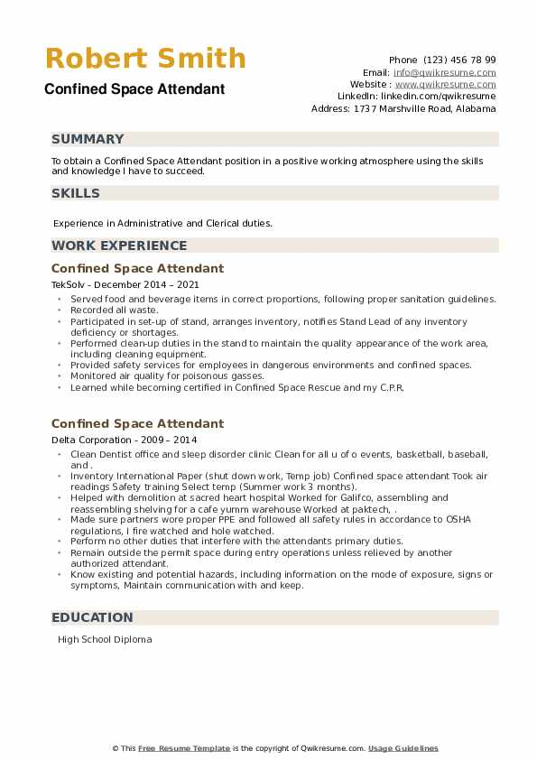 Confined Space Attendant Resume example
