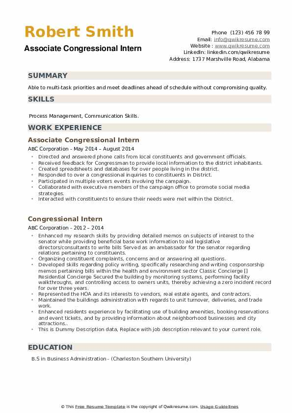 Cover Letter For Political Internship from assets.qwikresume.com