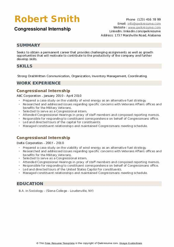 Congressional Internship Resume example