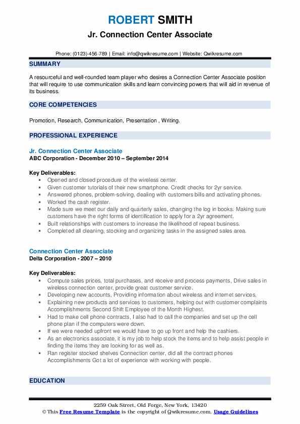 connection center associate resume samples  qwikresume