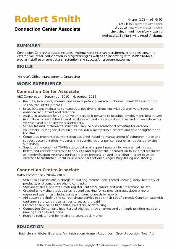 Connection Center Associate Resume example
