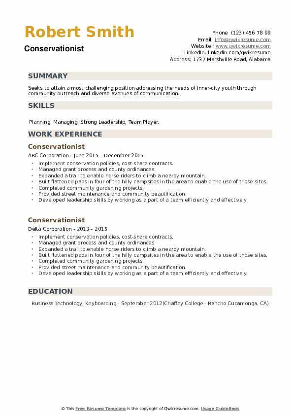 Conservationist Resume example