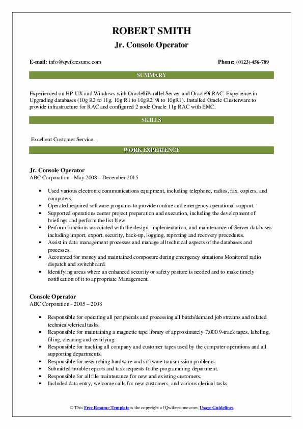 Jr. Console Operator Resume Template