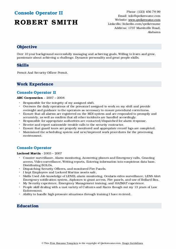 Console Operator II Resume Format