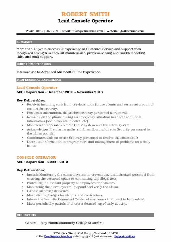 Lead Console Operator Resume Model