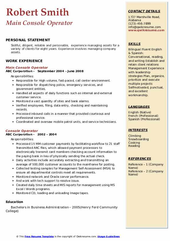 Main Console Operator Resume Model