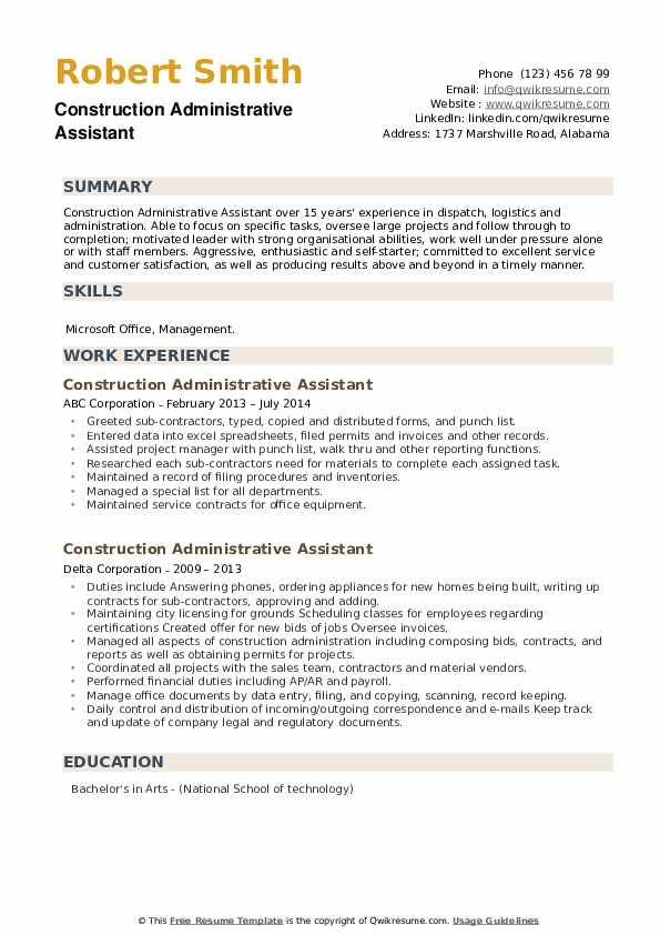 Construction Administrative Assistant Resume example
