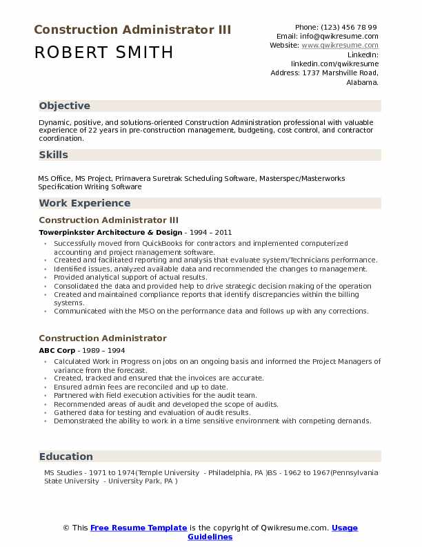 Construction Administrator Resume Samples