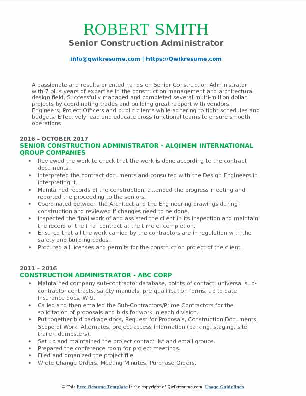Senior Construction Administrator Resume Sample