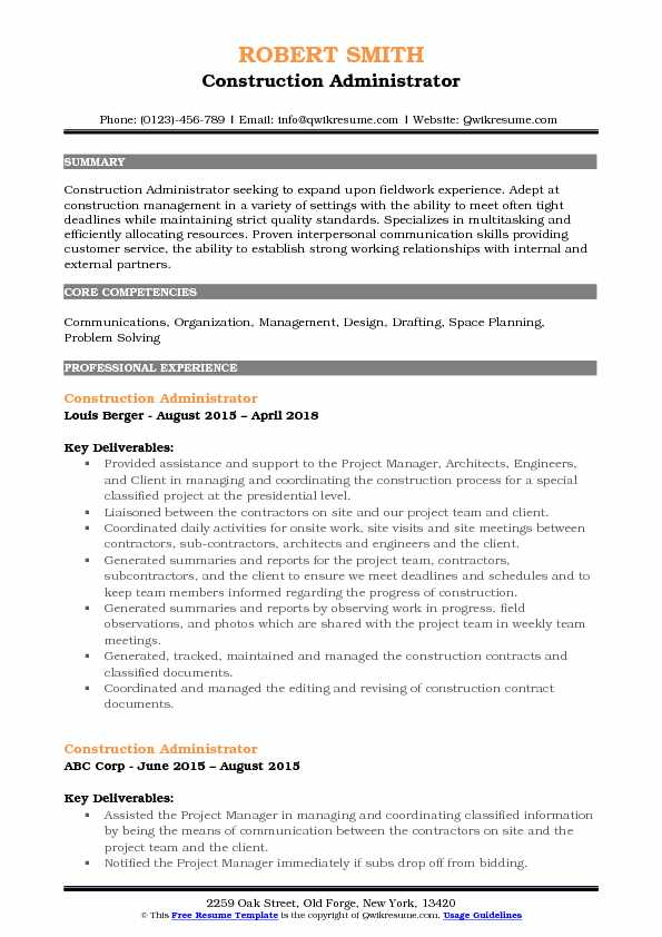 Construction Administrator Resume Format