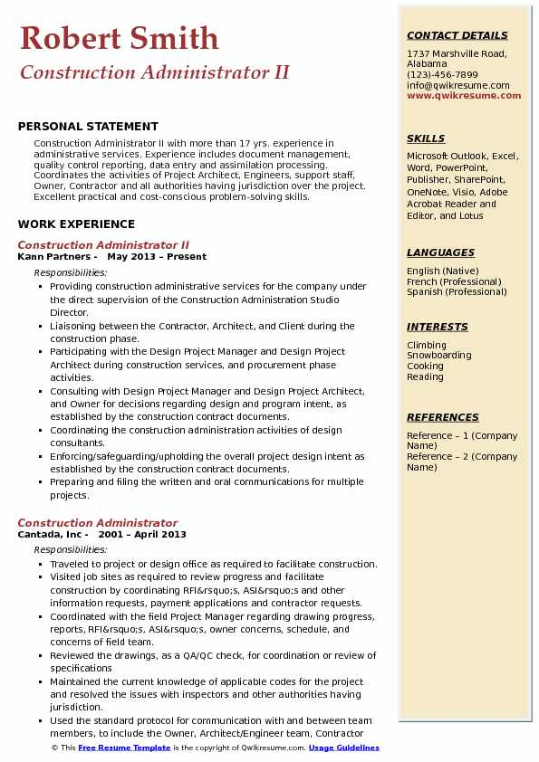 Construction Administrator II Resume Sample