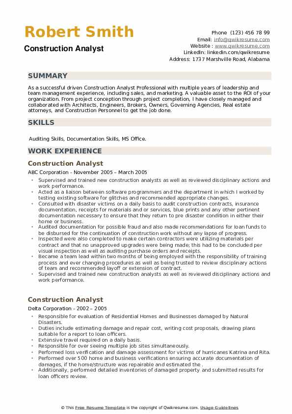 Construction Analyst Resume example