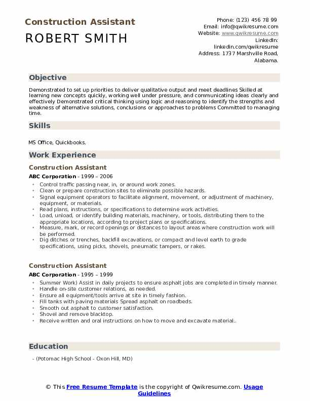 Construction Assistant Resume Template