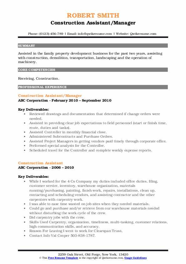 Construction Assistant/Manager Resume Model
