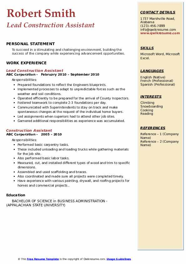 Lead Construction Assistant Resume Format