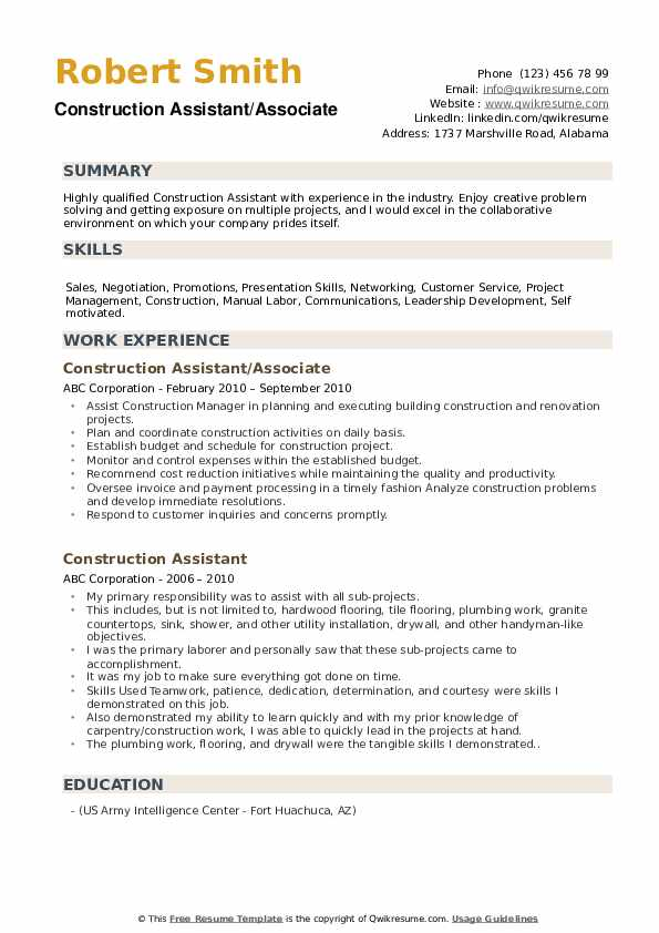 Construction Assistant/Associate Resume Sample