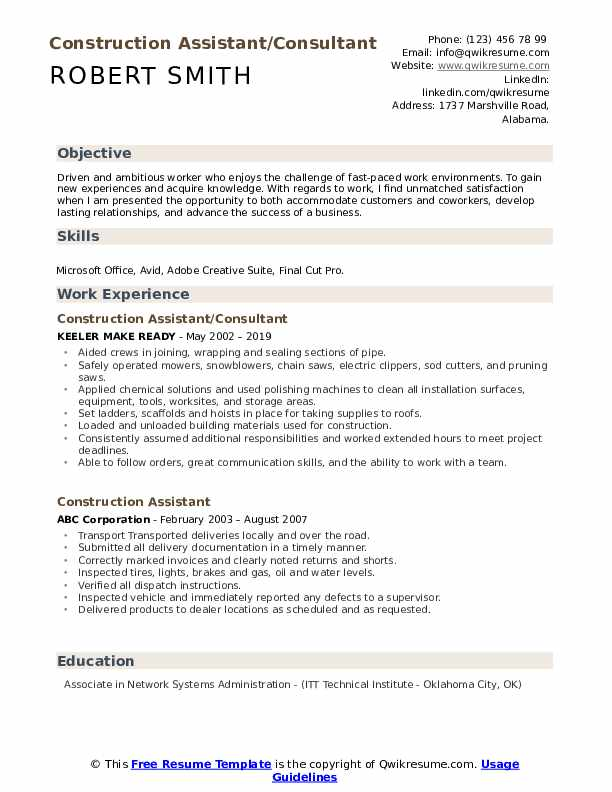 Construction Assistant/Consultant  Resume Example