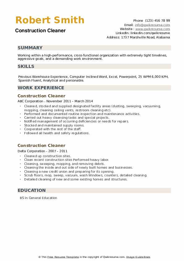 Construction Cleaner Resume example