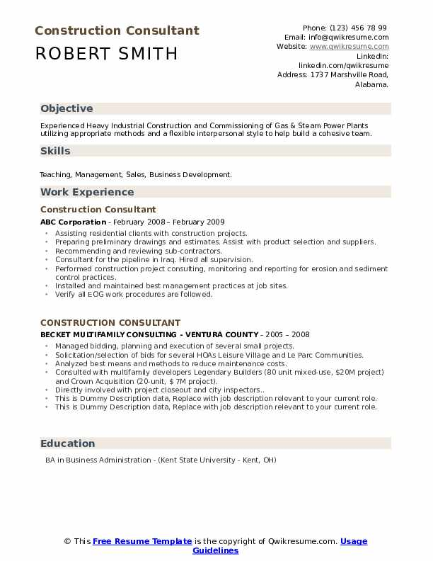 Construction Consultant Resume example