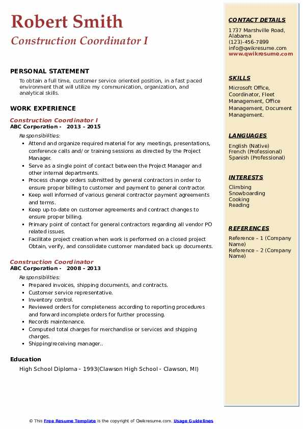 Construction Coordinator Resume Samples Qwikresume