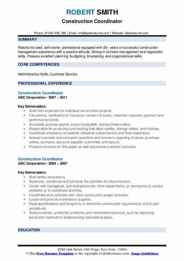 Construction Coordinator Resume example