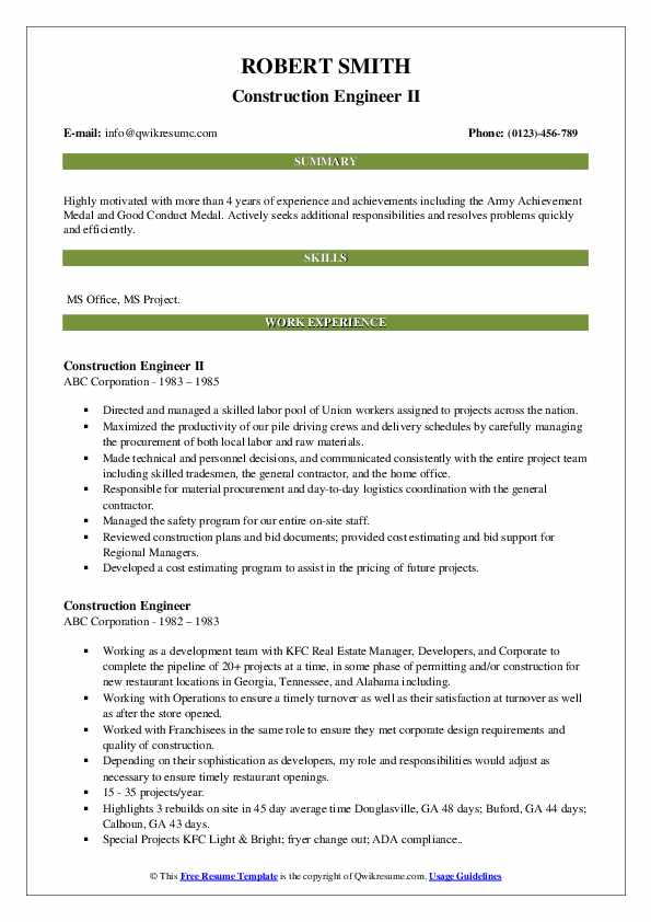Construction Engineer II Resume Template