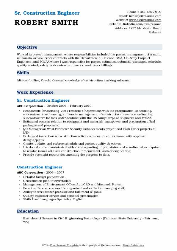 Sr. Construction Engineer Resume Model