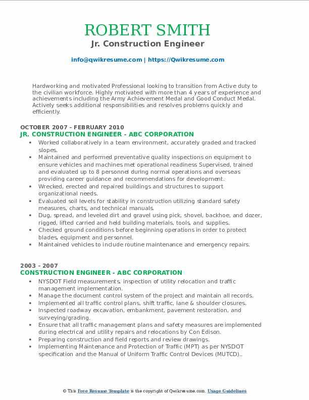 Jr. Construction Engineer Resume Format