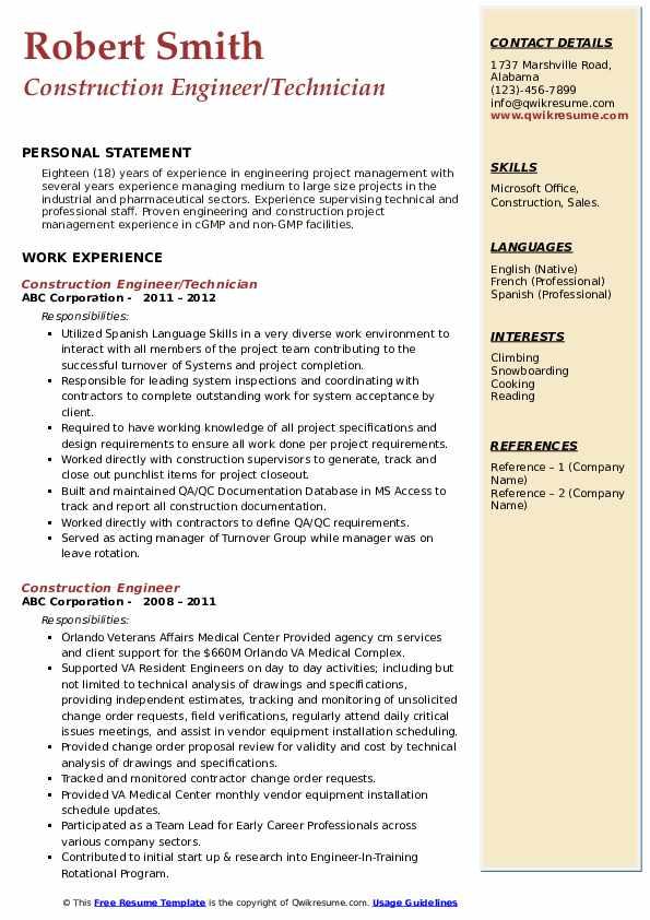Construction Engineer/Technician Resume Format