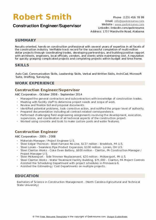 Construction Engineer/Supervisor Resume Format