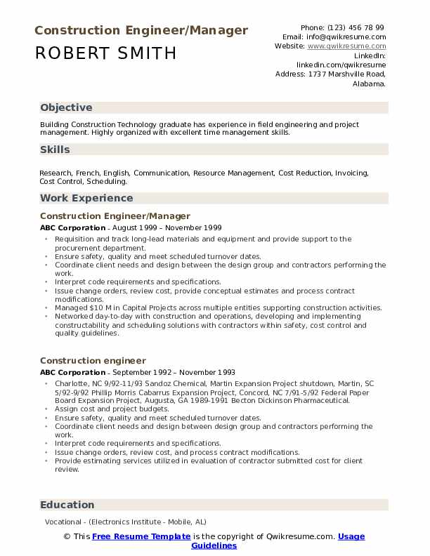 Construction Engineer/Manager Resume Model