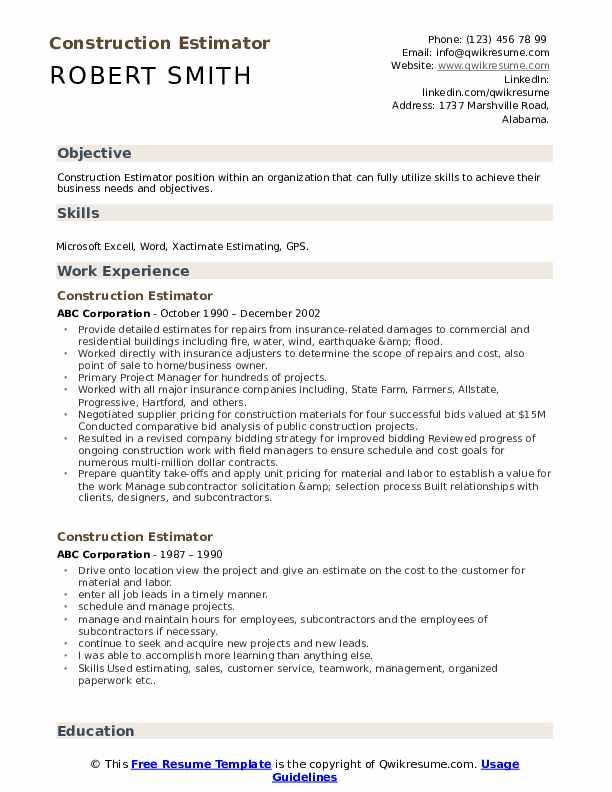 Construction Estimator Resume Format