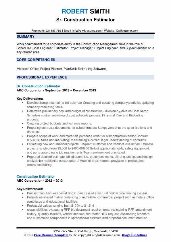 Sr. Construction Estimator Resume Sample