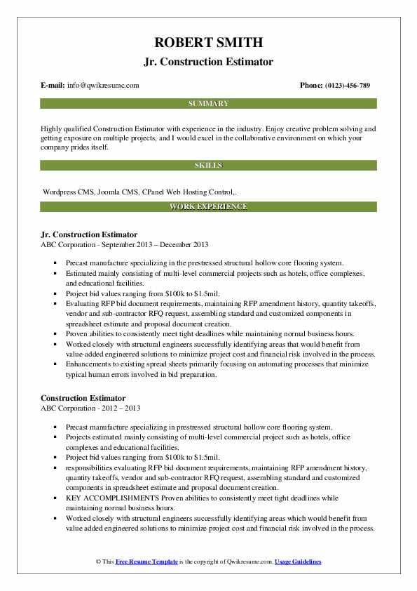 Jr. Construction Estimator Resume Model