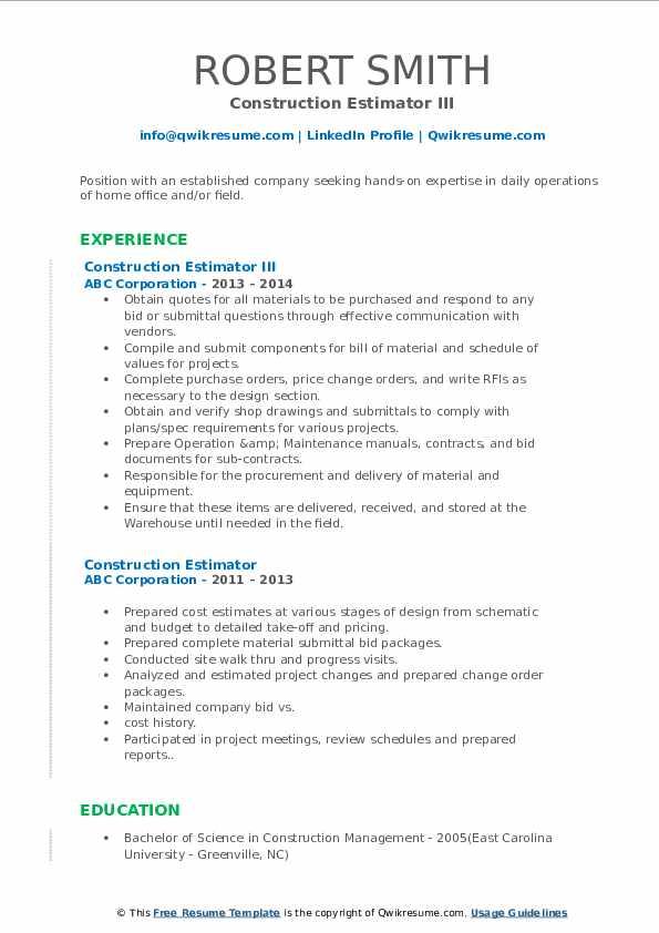 Construction Estimator III Resume Format