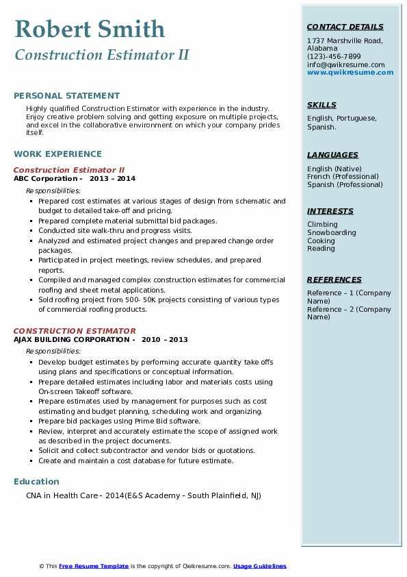 Construction Estimator II Resume Sample