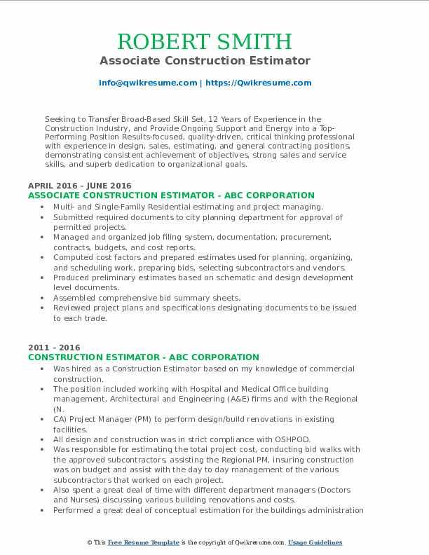 Associate Construction Estimator Resume Sample