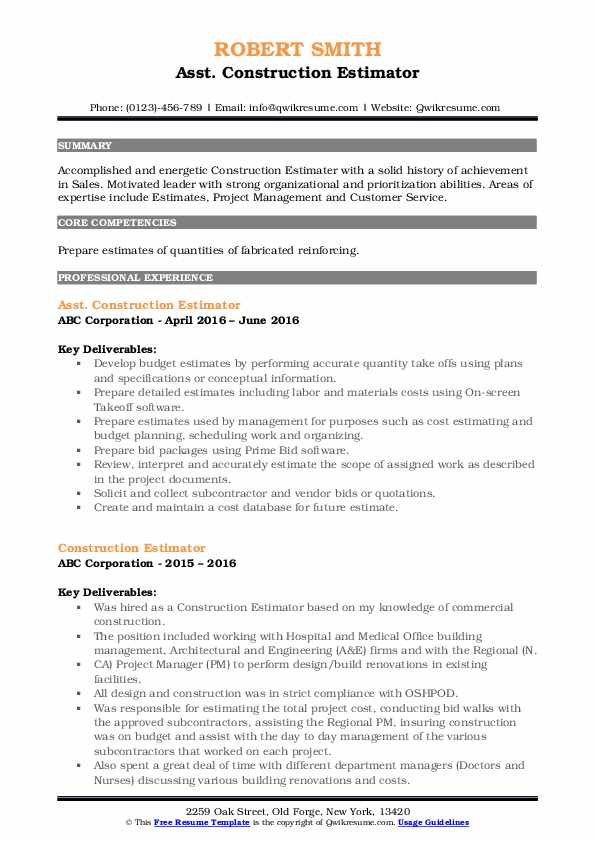 Asst. Construction Estimator Resume Format
