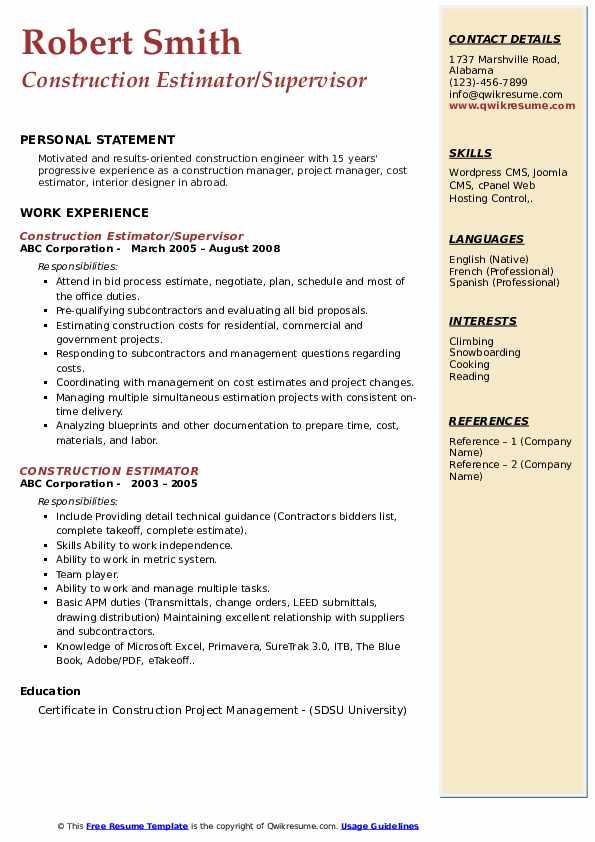 Construction Estimator/Supervisor Resume Sample