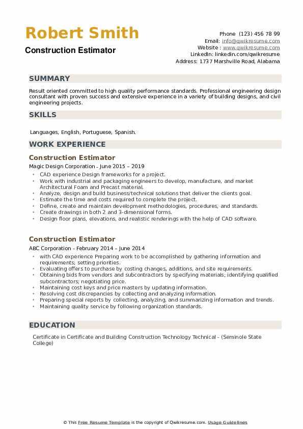 Construction Estimator Resume example