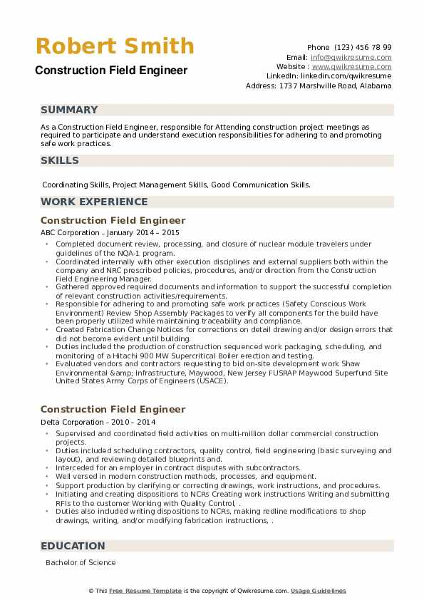 Construction Field Engineer Resume example