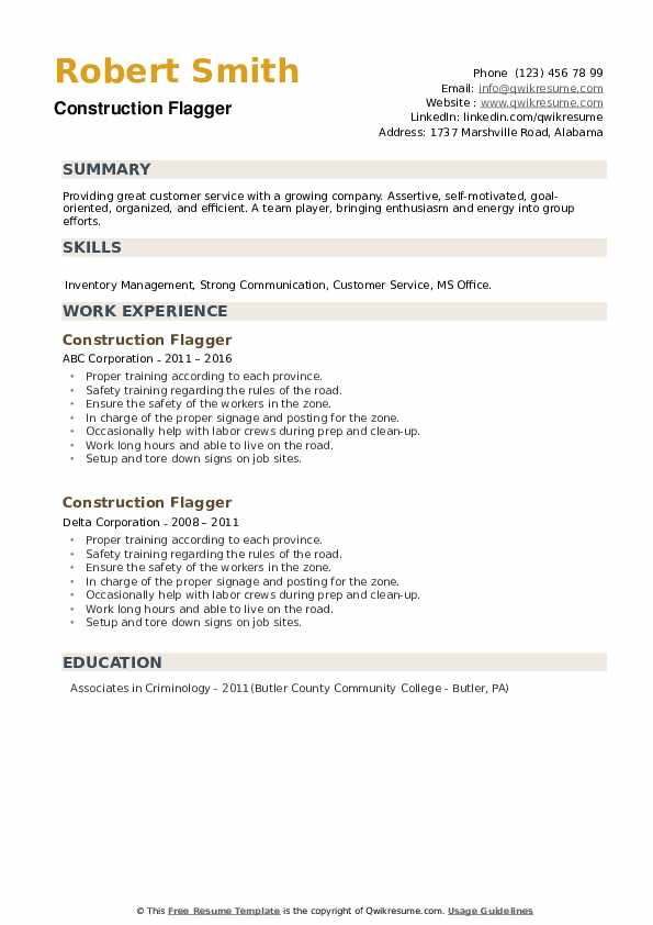 Construction Flagger Resume example
