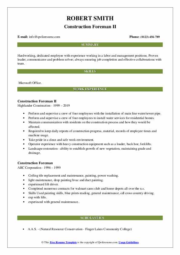 Construction Foreman Resume Samples Qwikresume