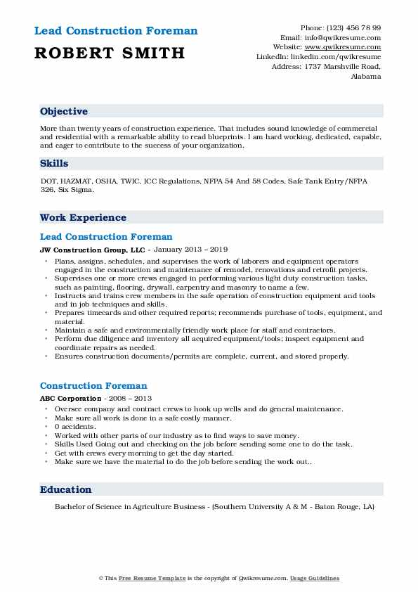 Lead Construction Foreman Resume Template