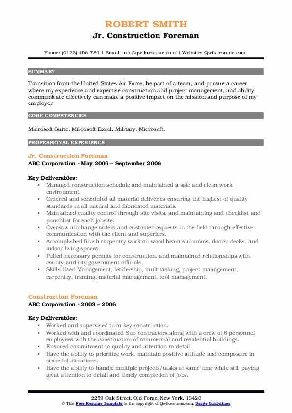 Jr. Construction Foreman Resume Model