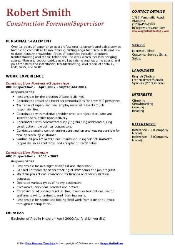 Construction Foreman/Supervisor Resume Template